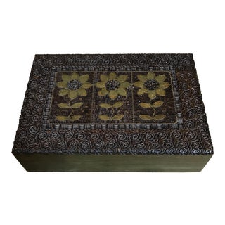 Handcarved Wooden Box With Brass Inlay