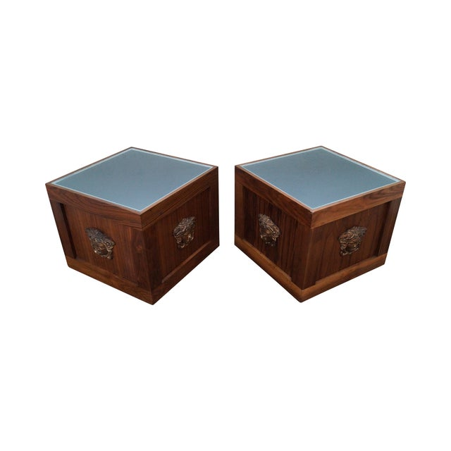 Solid Walnut Cube End Tables - A Pair - Image 1 of 10