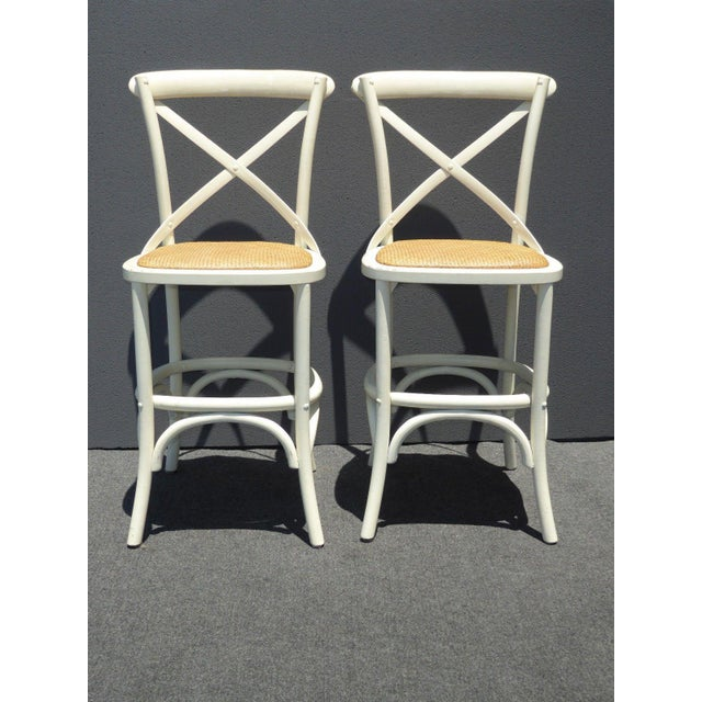 Vintage French Country White Rye Seat Bar Stools - A Pair - Image 2 of 11
