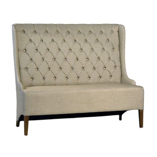 Beige Tufted Dining Bench