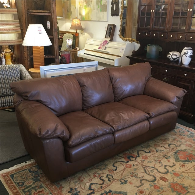 Contemporary Brown Leather Sofa - Image 9 of 9