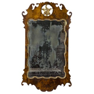 Queen Anne Walnut Parcel Gilt Mirror with Elaborately Scrolled Crest & Apron,