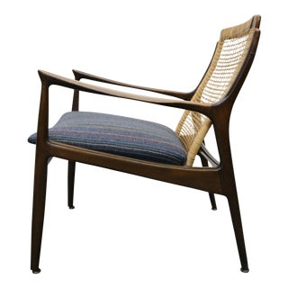 Ib Kofod Larsen Walnut Cane Back Mid Century Danish Lounge Arm Chair