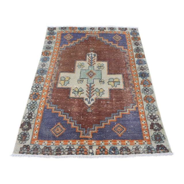 Image of Turkish Handmade Vintage Pastel Pile Rug - 3′1″ × 4′9″
