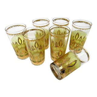 Culver 22 Karat Gold Decorated Highball Glasses- Set of 7