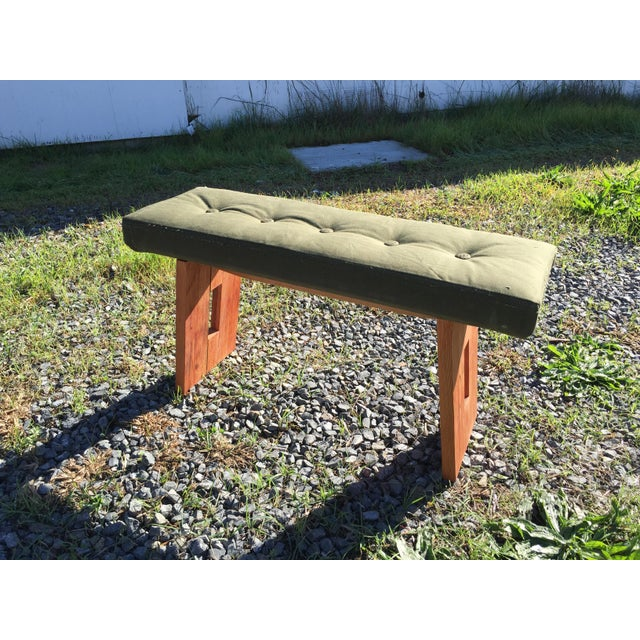 Bench with Vintage Army Upholstery - Image 7 of 7