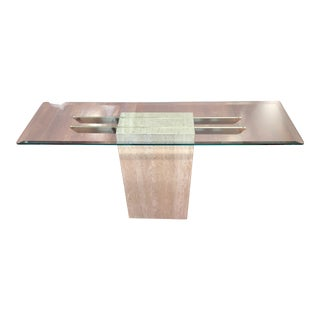 Guy Barker Ello Italian Travertine Brass Bar Inserts and Beveled Glass Top Console Table