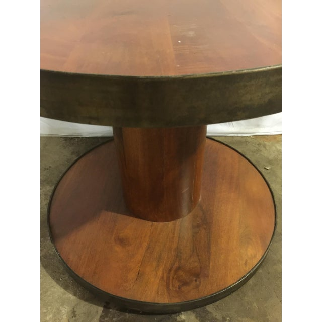 Image of Modern Drum Table With Antique Metal Trim