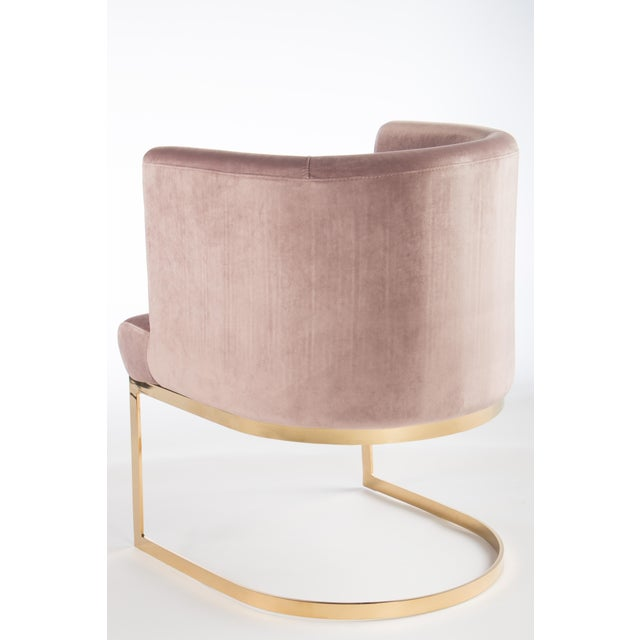 Image of Modern Blush Velvet & Gold Circular Accent Chair