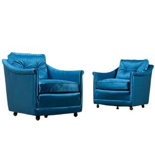 Teal Restored Henredon Arm Chairs - A Pair