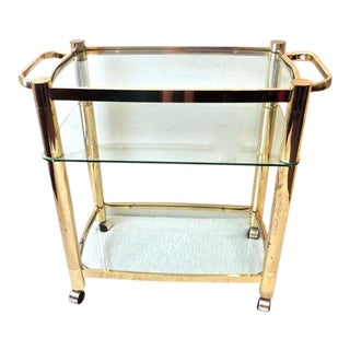 Mid-Century Modern Brass & Glass Bar Cart
