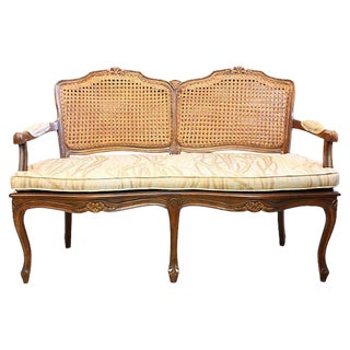 Vintage Cane Settee Bench