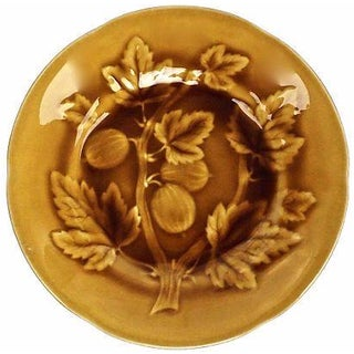 Antique French Majolica Gold Gooseberry Plate