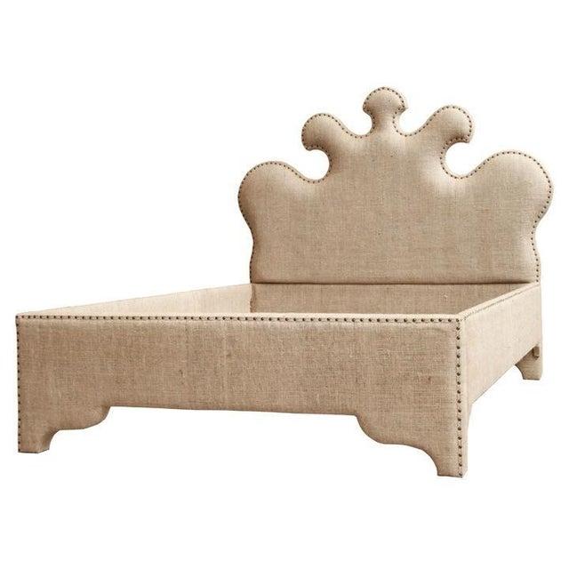 Noir Queen Burlap Bed - Image 10 of 10