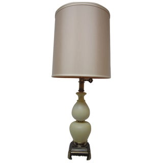 Hollywood Regency Yellow Opaline Lamps - A Pair