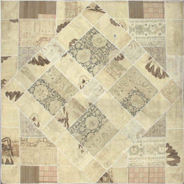 "Image of Tan Square Patchwork Rug - 9'9"" X 9'9"""