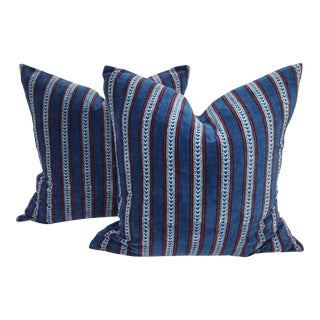 Softly Faded Indigo Velvet Pillows - A Pair