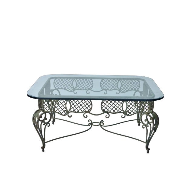 Iron Tole & Glass French Coffee Table - Image 2 of 4