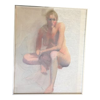 Vintage Female Nude Original Pastel Drawing