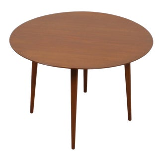 Round Mid Century Coffee Table with Splayed Legs in the Style of Hans Wegner