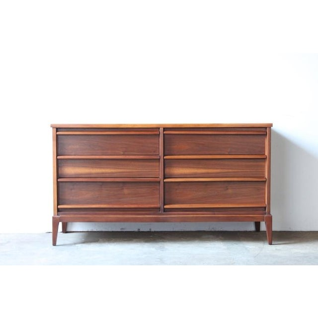 Image of Mid-Century Six Drawer Walnut Dresser