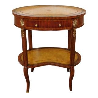 Maitland Smith Mahogany & Leather Side Table