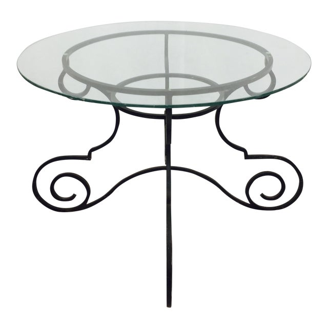 Vintage Wrought Iron & Glass Top Table - Image 1 of 6