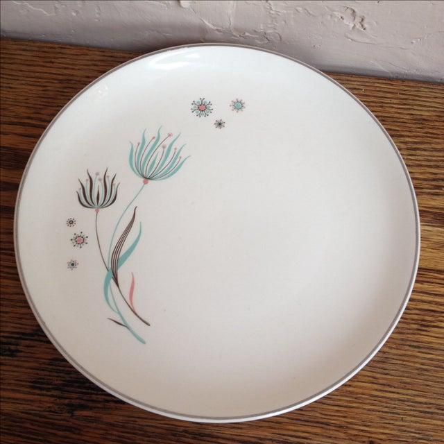 Crooksville Mid Century Floral Atomic Plates - 2 - Image 2 of 7