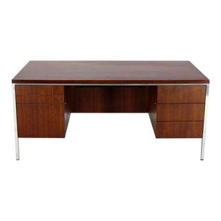 Walnut and Aluminum Mid-Century Modern Large Executive Desk