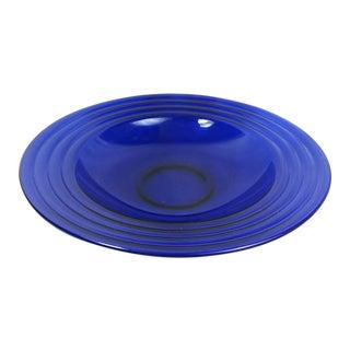 Vintage Cobalt Blue Ringed Rimmed Deep Platter