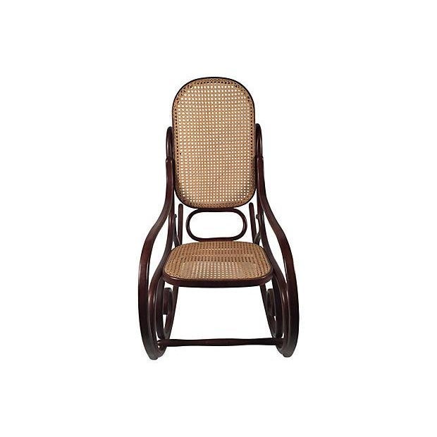 thonet attri caned bentwood rocking chair chairish