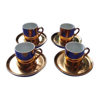Gold Coffee Cups With Saucers - Set of 4