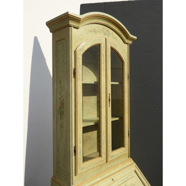 French Provincial Hand Painted Curio Cabinet Hutch Desk