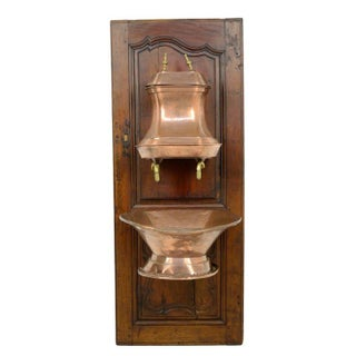 French Copper Basin on Antique Door