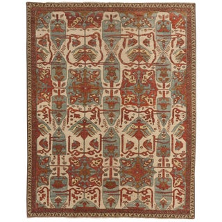 Antique Hand Knotted Indo Heriz Tribal Motif Rug - 8'x 10'