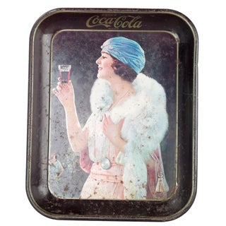 Early '20s Tin Coca-Cola Tray With Woman