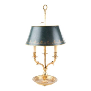 French Bouillotte Lamp With Green Tôle Shade