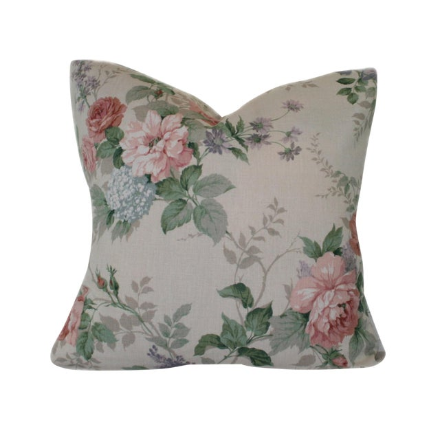 Image of Ecru Linen With Peach Roses Floral Print Pillow Cover
