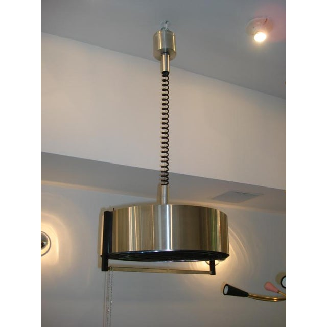 Image of Vintage French Modernist Stainless Steel Hanging Light