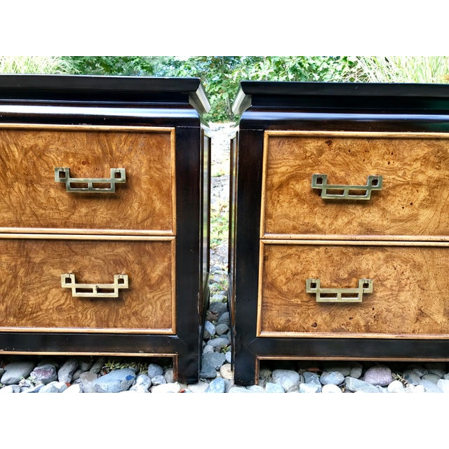 Century Chinoiserie Chin Hua Burl Wood Night Stands / Short Dressers - a Pair - Image 11 of 11