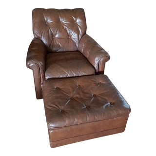 Vintage Drexel Heritage Tufted Leather Armchair & Ottoman