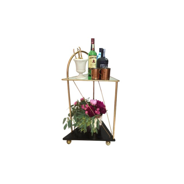 Image of Vintage Geometric Mirror Top Triangle Bar Cart