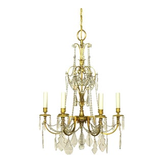 French Directoire Style Gilt Bronze and Crystal Chandelier
