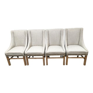 Contemporary Aaron Slope Arm Linen Chairs - Set of 4