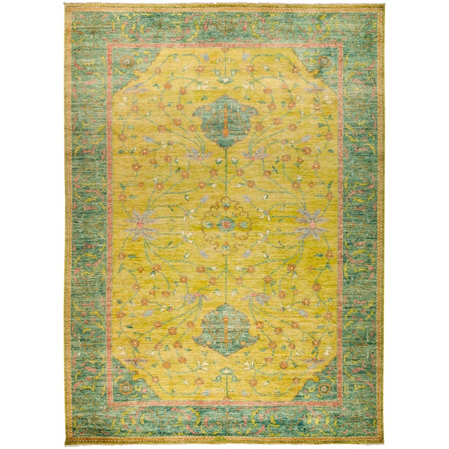 "New Yellow Hand-Knotted Rug 10' 2"" X 13' 9"" - Image 1 of 3"