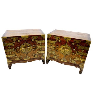 Antique Asian Rosewood Side Table Cabinets- A Pair