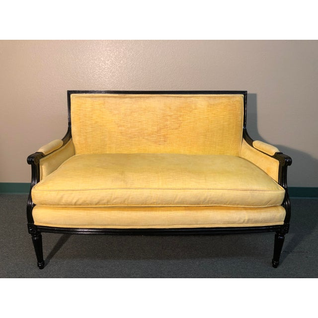 Vintage Yellow Upholstered Settee - Image 6 of 6