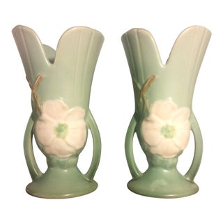 Weller Wild Rose Flared Vases in Green - A Pair