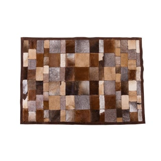"Luxury Cowhide Patchwork Area Rug Rectangle Brown Beige 5'5""x4'0"""