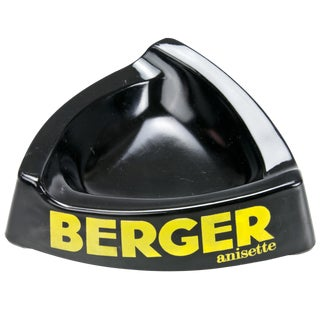Vintage French Berger Black Glass Ashtray